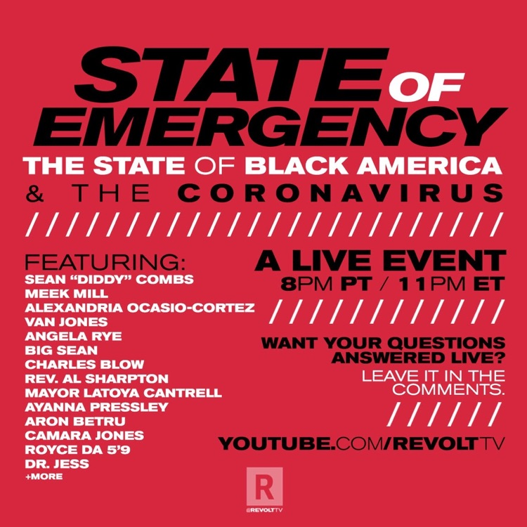Sean 'Diddy' Combs to Moderate 'The State Of Black America & The Coronavirus' on Revolt TV