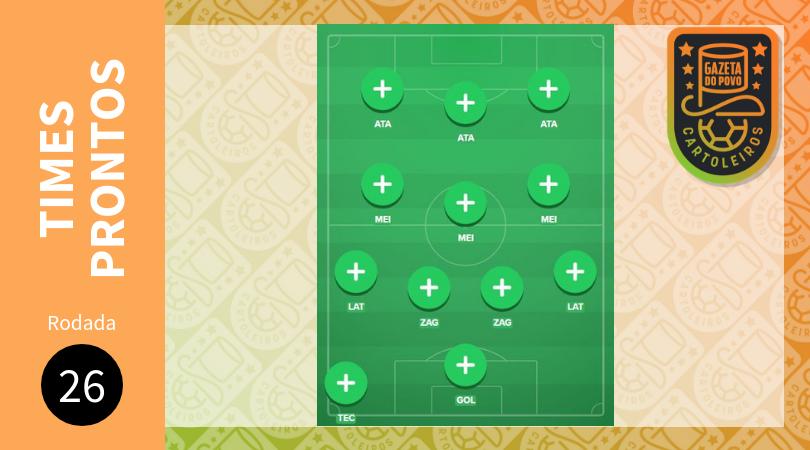 Cartola FC 2018 – 26ª rodada: sugestão de times para pontuar e valorizar