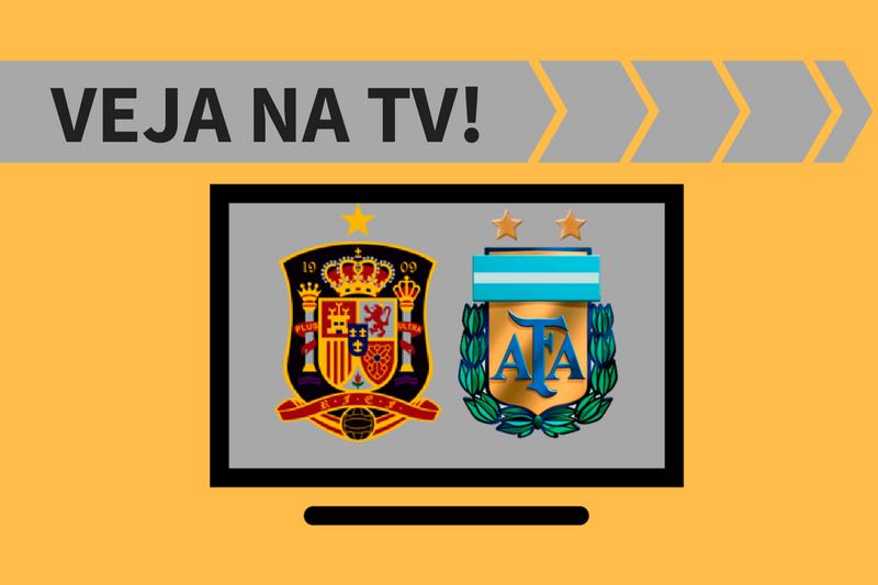 Saiba como ver na TV o jogo entre Espanha x Argentina. Um canal fará a transmissão ao vivo.