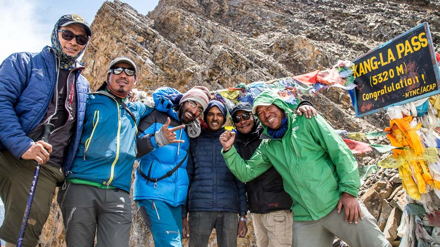 The Annapurna Seven Passes Team celebrates the crossing of the Kangla Pass. From L-R: Mingma Sherpa, Amrit Ale, Anup Vaswani, Aaloka Tumbahangphey, and Tripple Gurung.