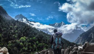 An Independent trekker en route Everest Base Camp