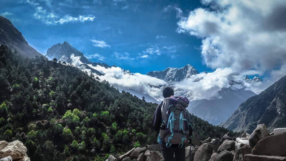 An Independent trekker en route Everest Base Camp