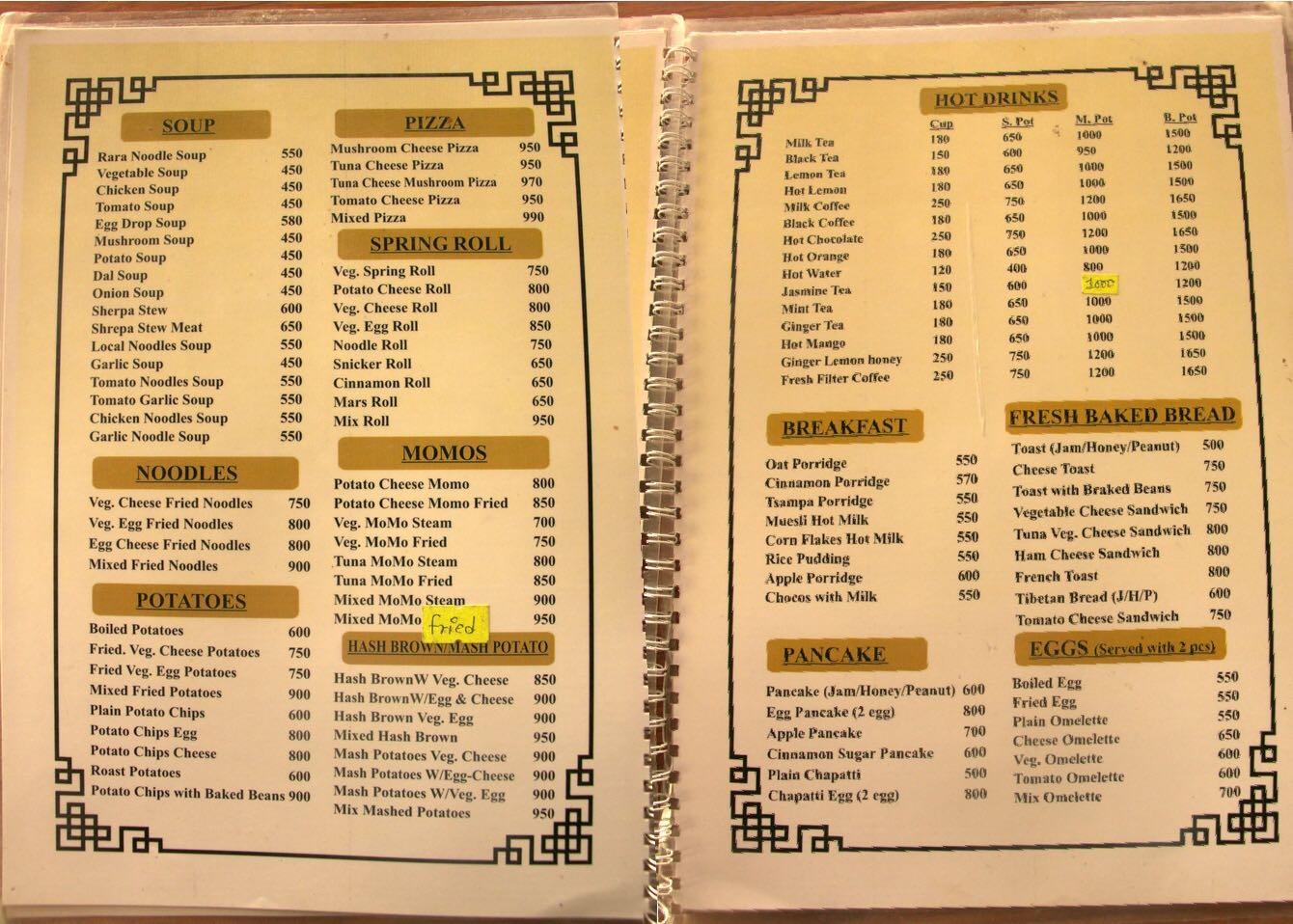 Sample menu in Lobuche
