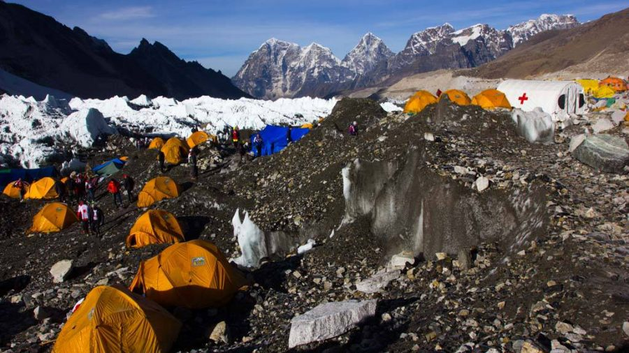 Expedition Teams pitching tents in the Everest Base Camp