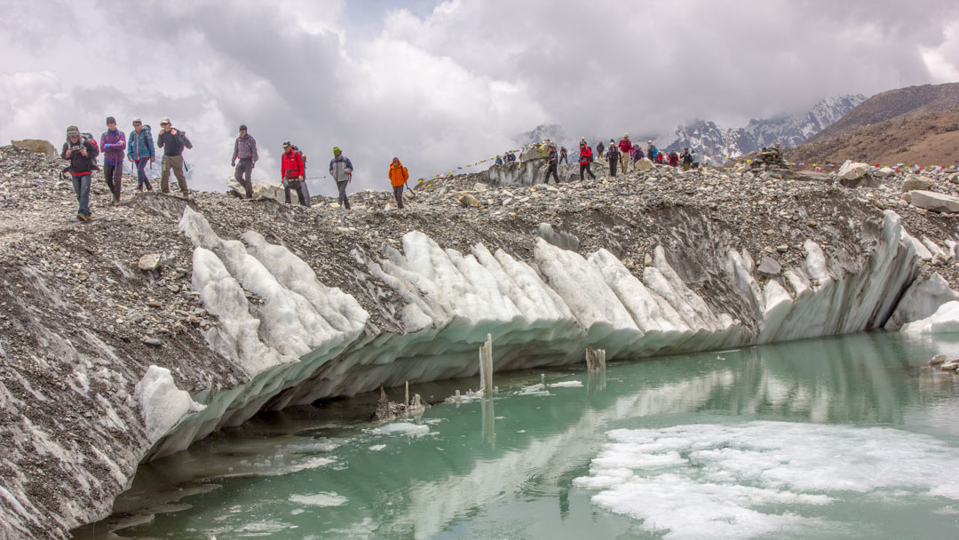Trekkers in Khumbu Glacier, Everest Base Camp