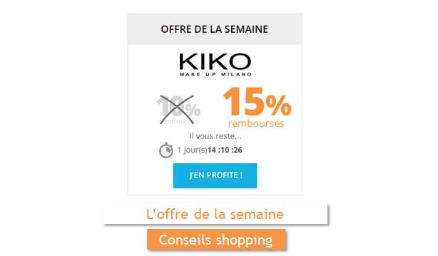 kiko est l offre de la semaine sur remises et r ductions. Black Bedroom Furniture Sets. Home Design Ideas