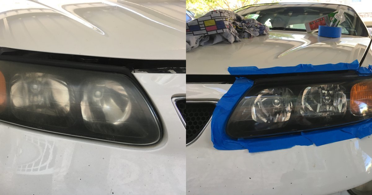 Headlight polish before after front cover photo