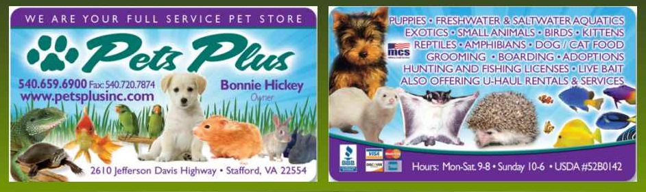 Pets Plus Inc | Stafford Virginia 22554 | Full Service Pet Store