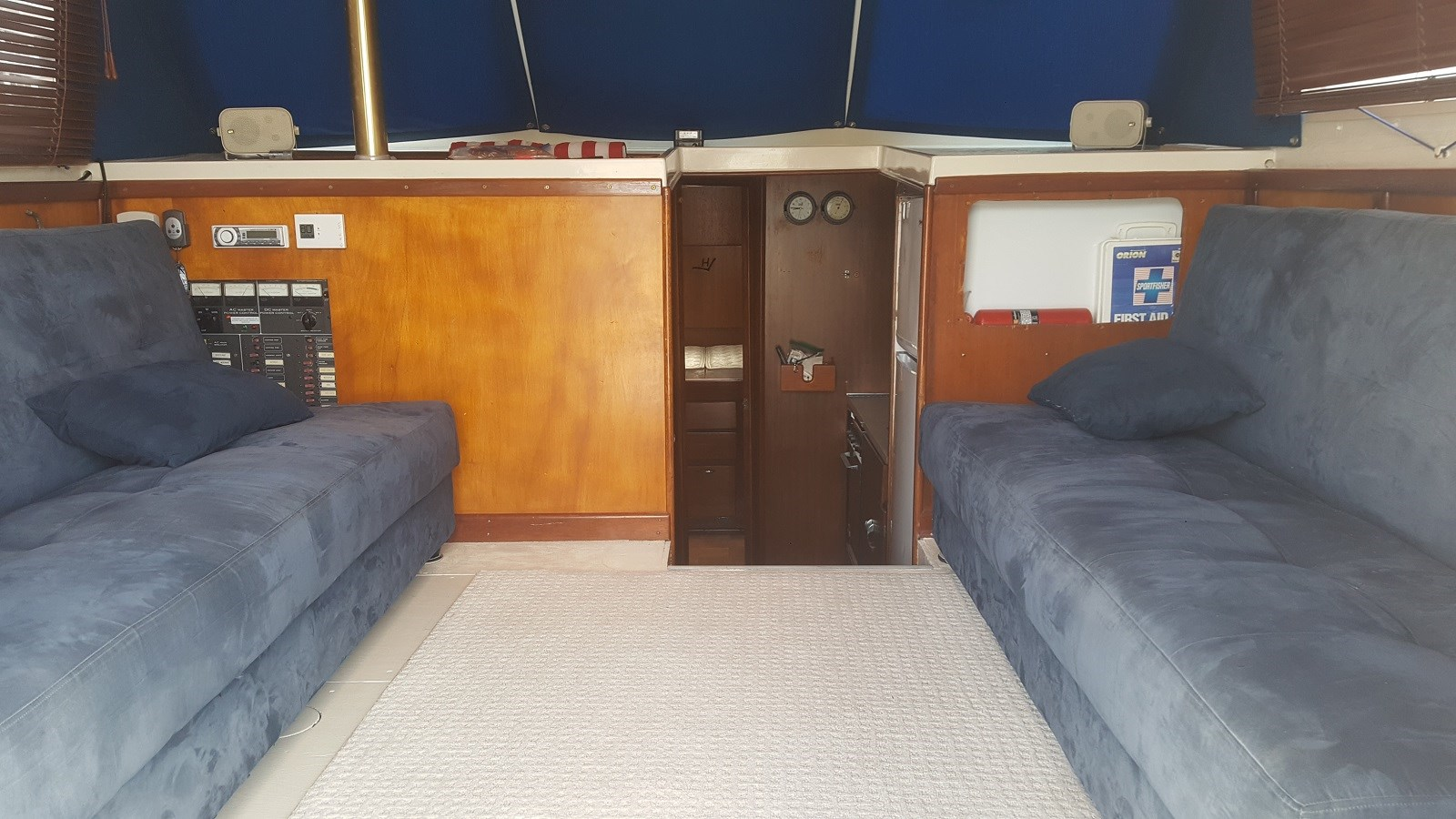 TwinFold-DownCouch-Beds with storage for spares - supplies - tools (new rug) - 34 HATTERAS For Sale