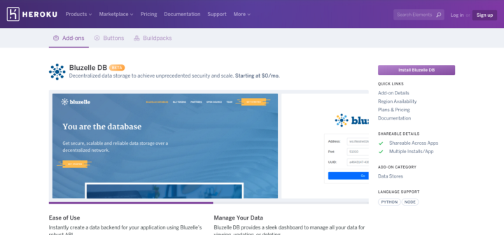 Bluzelle Now Available on Heroku-Salesforce