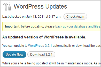 Wordpress Upgrade Box