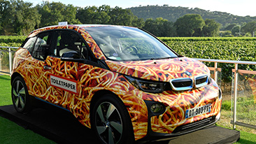 "BMW i3 ""Spaghetti Car"" by Artist Maurizio Cattelan Sold at Star-Studded Leonardo DiCaprio Foundation Gala."
