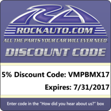 Please think of RockAuto.com when you need parts to maintain, repair or restore your vehicles. The discount code they have provided us with expires in a month!