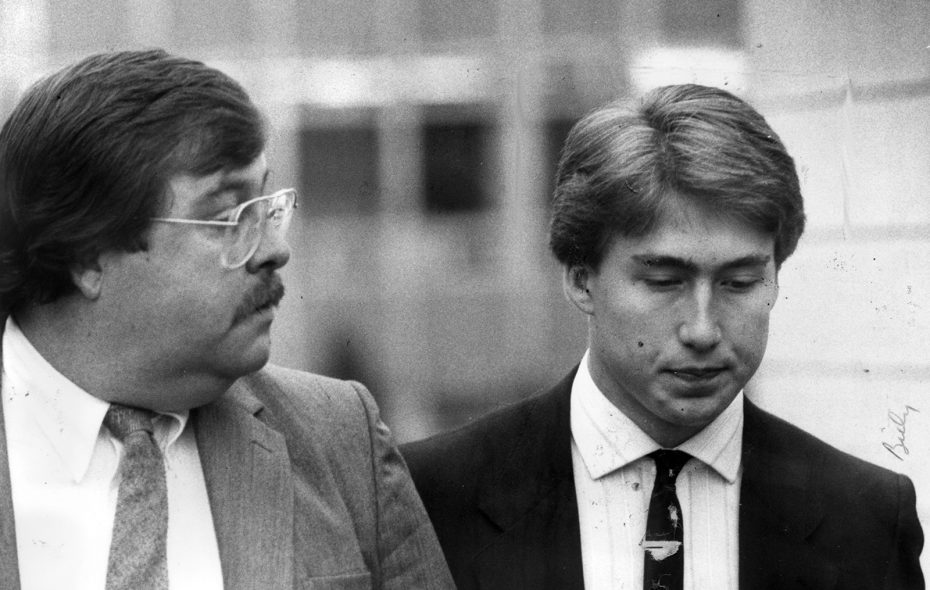 William C. Shrubsall, right, and his attorney Paul G. Cleary leave the Niagara County Courthouse in Lockport in 1988. Shrubsall, who killed his mother with a baseball bat while in high school and compiled an extensive criminal record in two countries, is set to return to New York after earning parole in Canada. (News file photo)