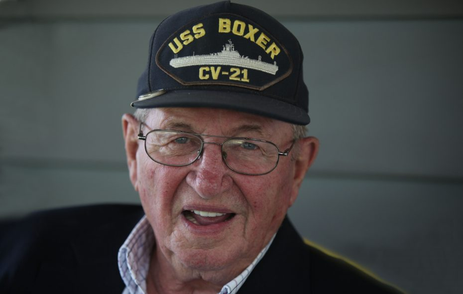 Jim Castle, of Lockport, was based on the USS Boxer aircraft carrier during WWII, photographed at his home Monday, Sept. 12, 2011.   (News file photo)
