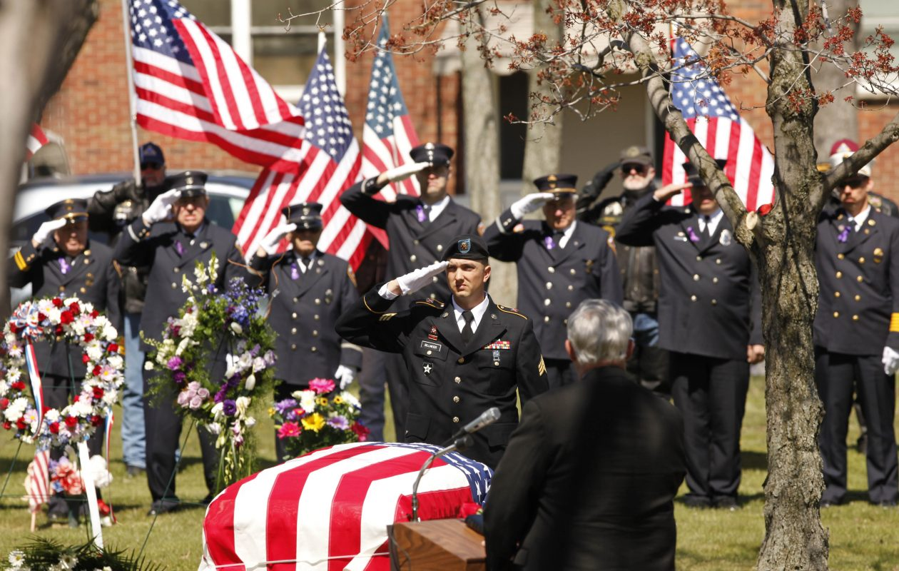 A final salute for Army Staff Sgt. William R. 'Billy' Wilson III, who was fatally shot March 26 in an attack in Afghanistan, as he is laid to rest in Elm Lawn Cemetery, Friday, April 6, 2012.  {Photo by Derek Gee / Buffalo News}