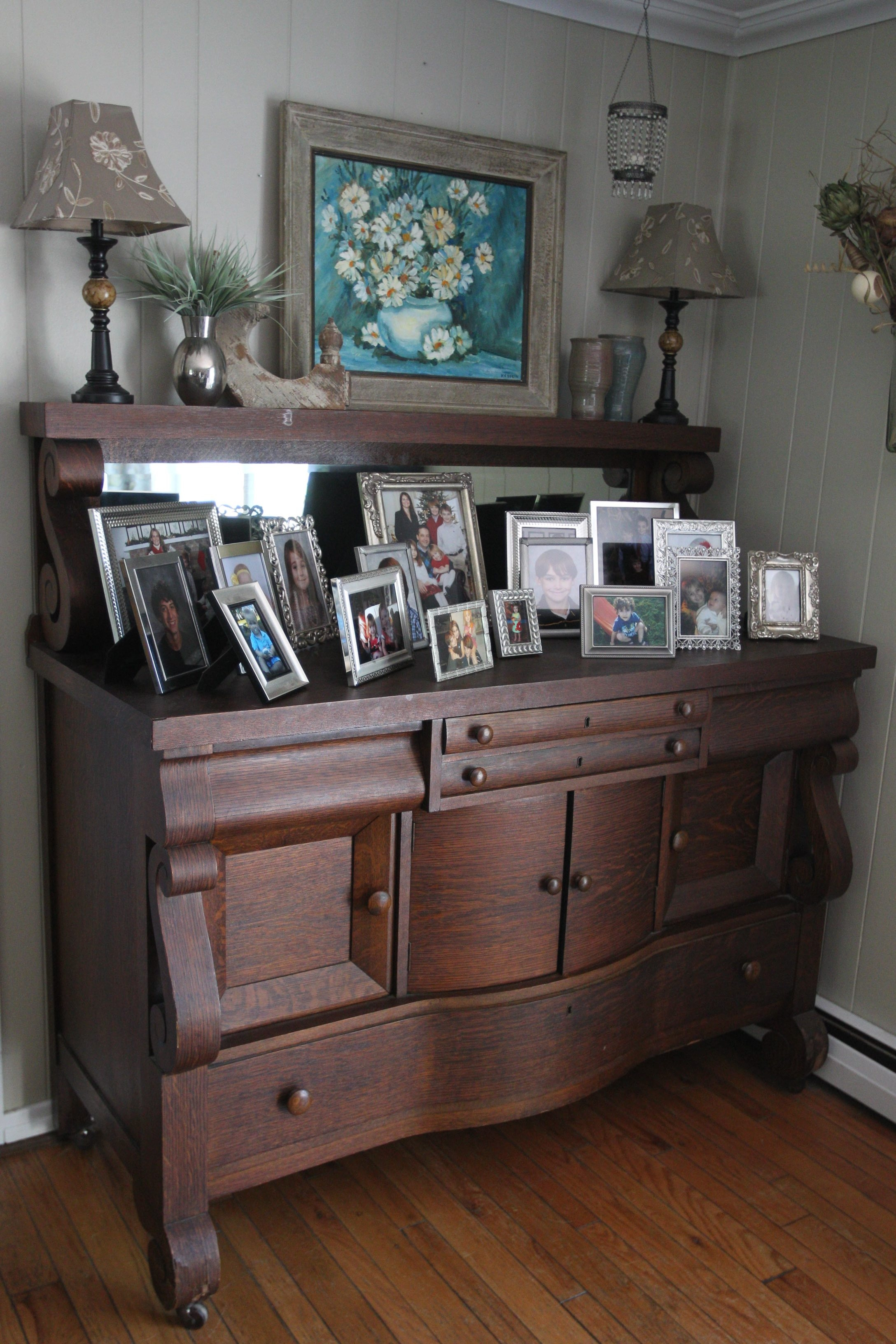 {for features August Home of the Month}  Shelly and Jamie Ferullo live in an 1830s Federal-syle home in the West Falls area.  Photo taken of their home on,Monday, July 23, 2012.This is in the living room. {Photo by Sharon Cantillon / Buffalo News}