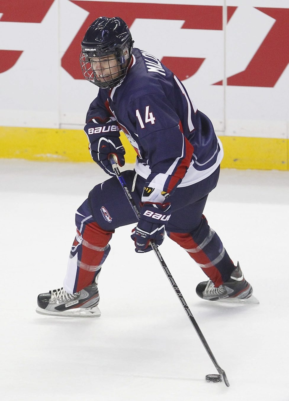 Mark Mulville / Buffalo News    The Blue Team's Sean Malone looks to make a pass during the first period of the USA Hockey Prospects game.