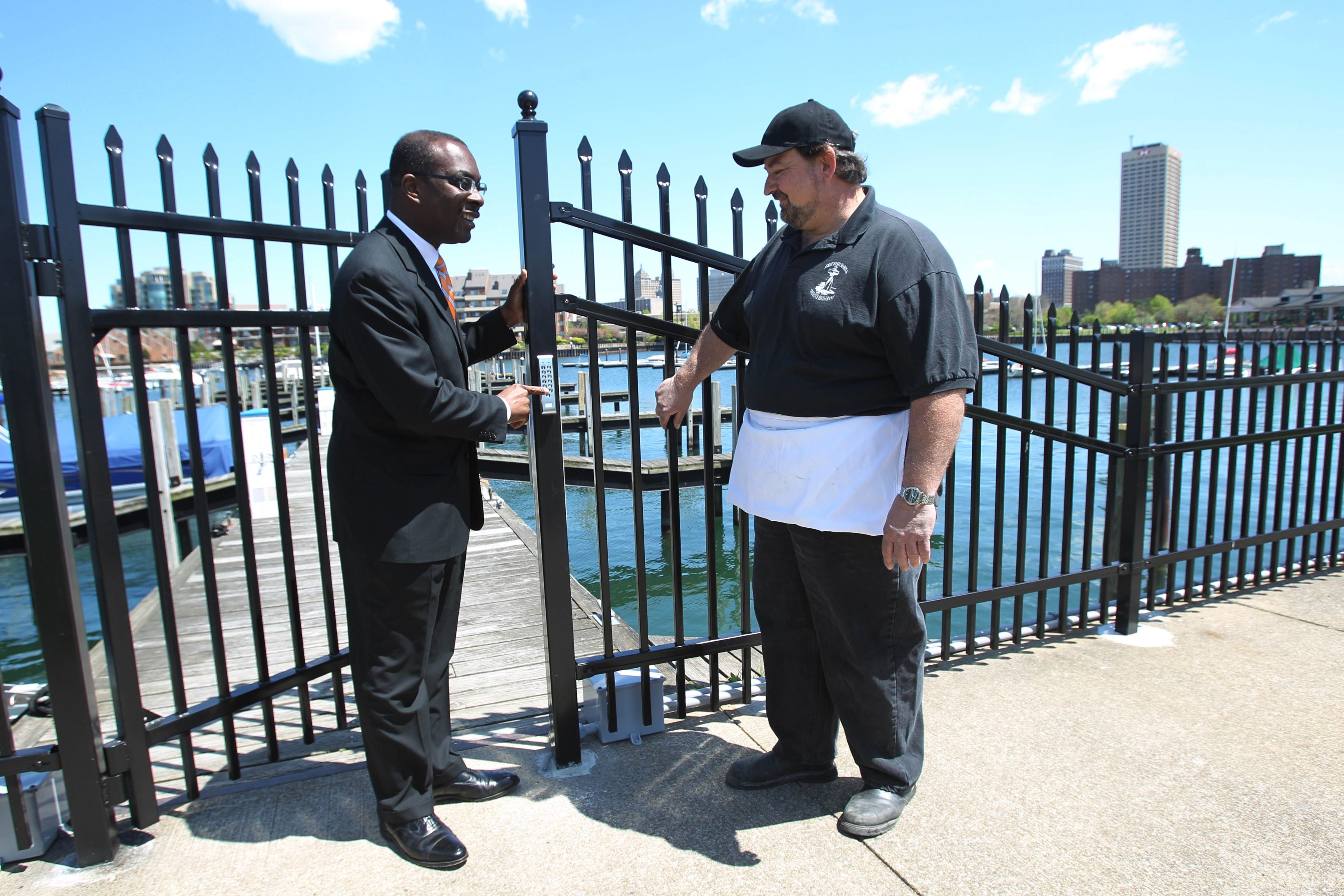 Sharon Cantillon/Buffalo News file photo    Mayor Byron W. Brown, who says this summer was the Hatch Restaurant's best ever, meets with Michael Wolasz, operations director for Erie Basin Marina.