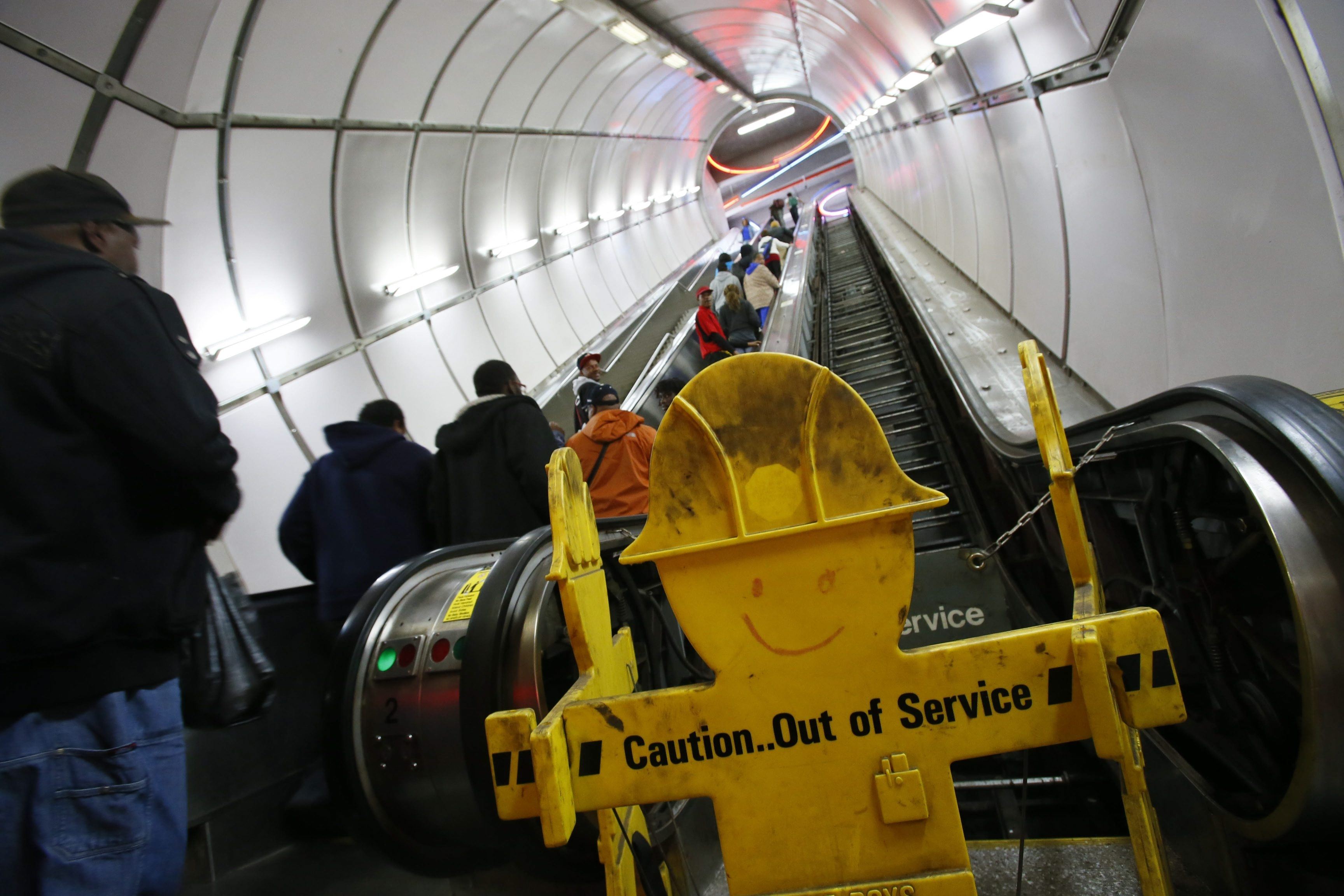 Derek Gee/Buffalo News    An escalator at the Metro Rail's University Station has been out of service for four months.