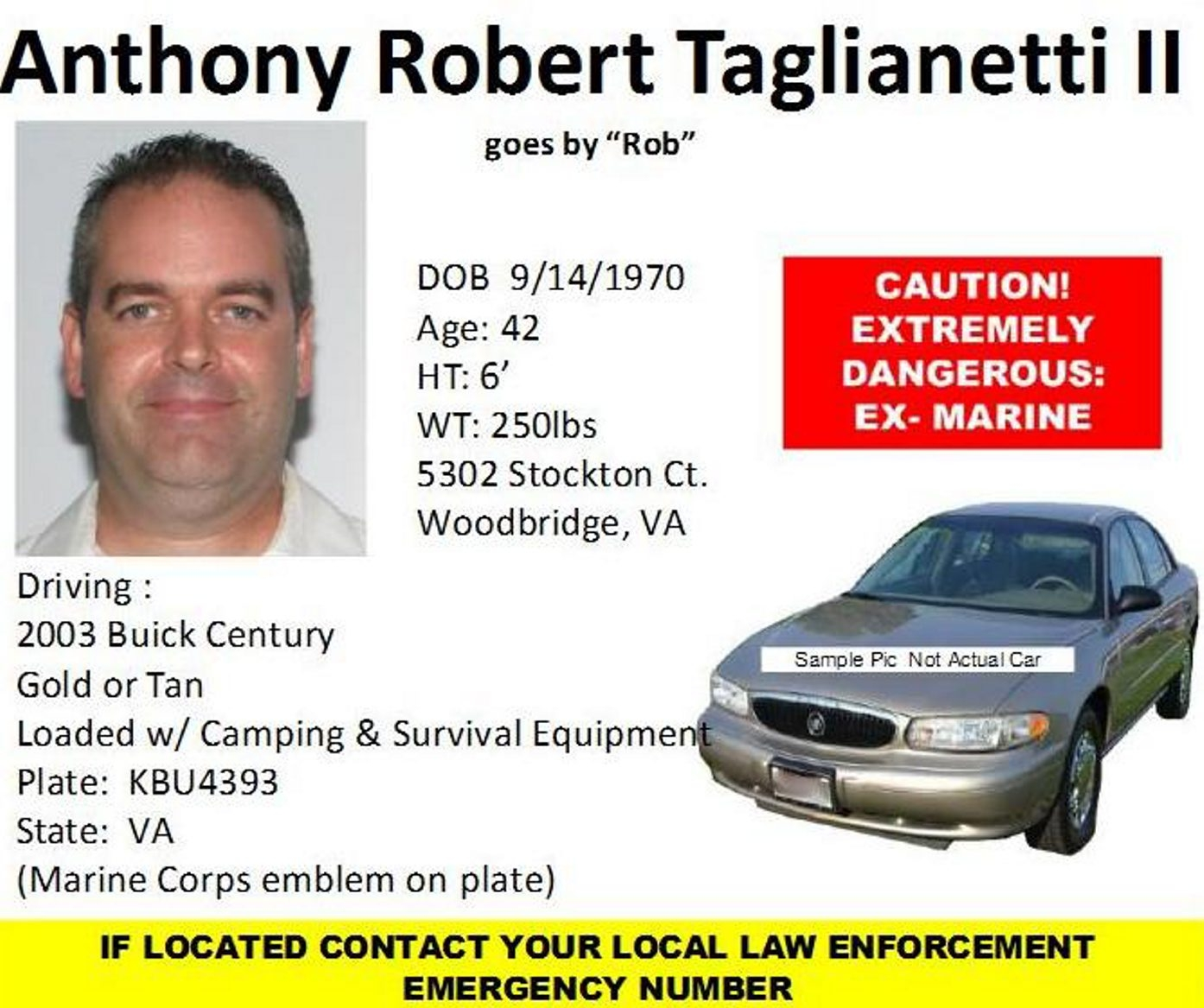 Wanted poster for the suspect, Anthony Robert Taglianetti II, 42, of Woodbridge, Va.