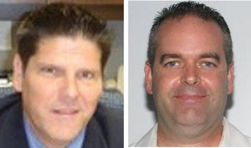 Anthony R.Taglianetti II, 42, right, is the subject of a manhunt in the slaying of Clymer School Superintendent Keith L. Reed Jr.