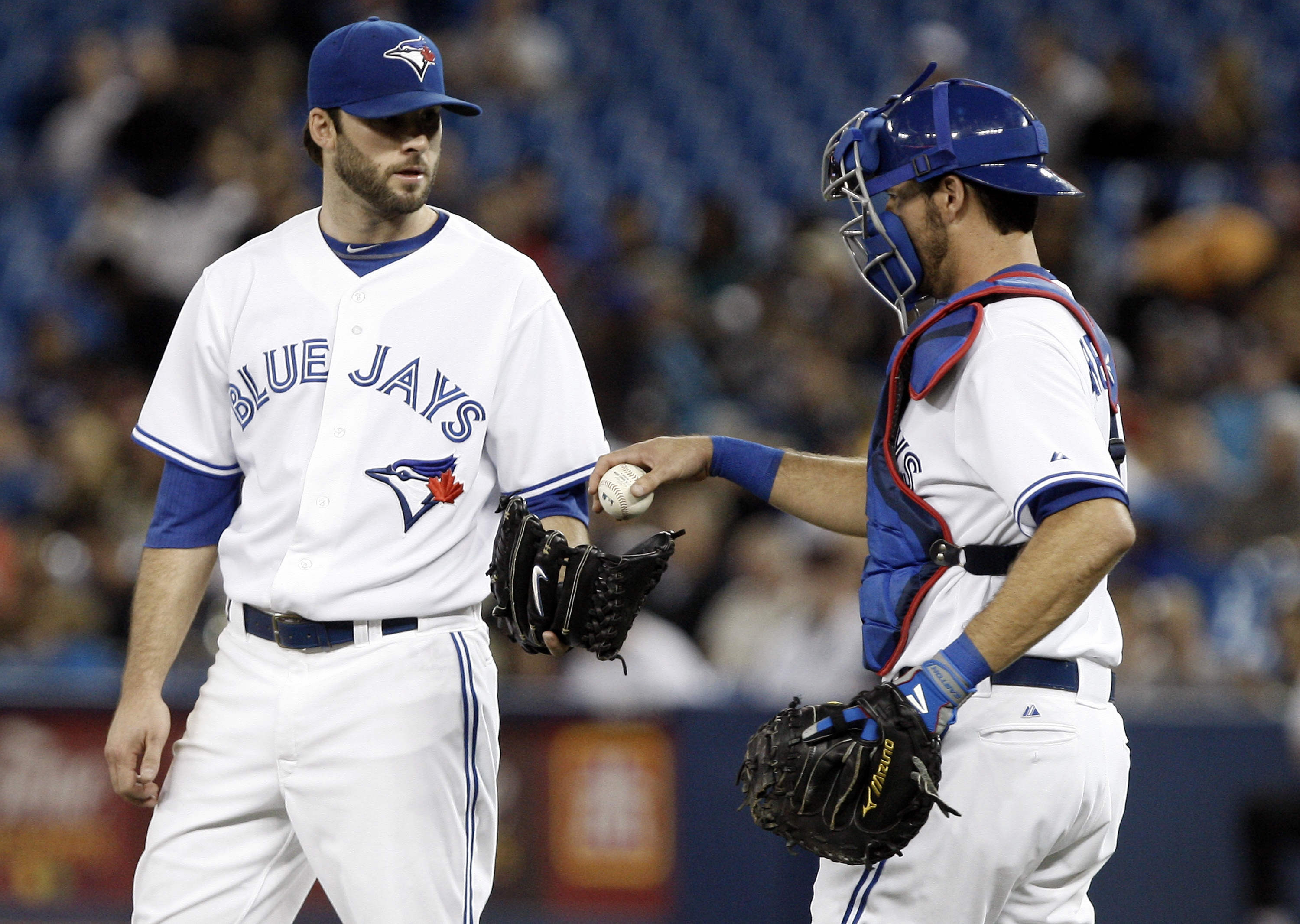 Getty Images    Toronto pitcher Brandon Morrow, left, threw seven shutout innings against the Yankees.