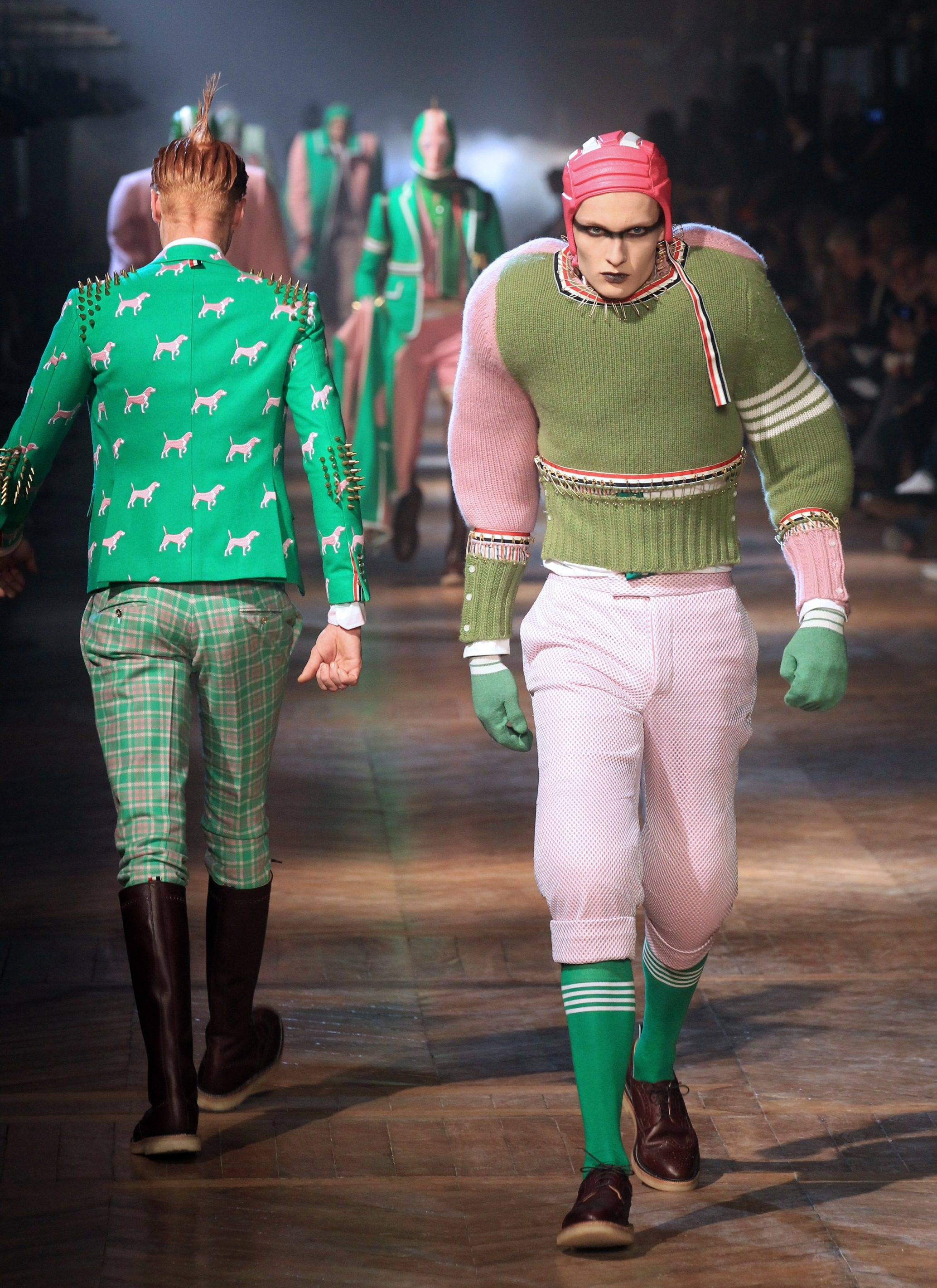 Halloween already? No, just an over-the-top take on Ivy League by fashion designer Thom Browne. (Getty Images)