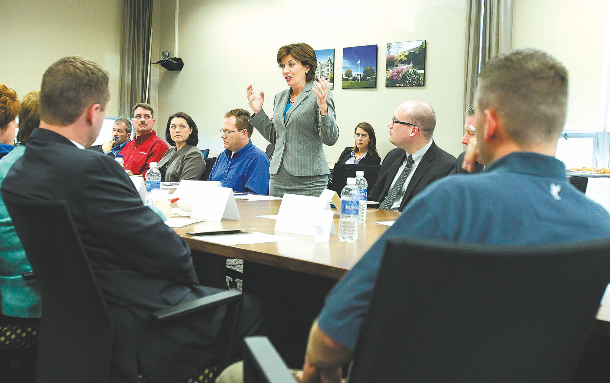U.S. Rep. Kathleen C. Hochul  speaks to business leaders about the need for skilled workers Tuesday during a round-table discussion at Erie Community College's Amherst campus.