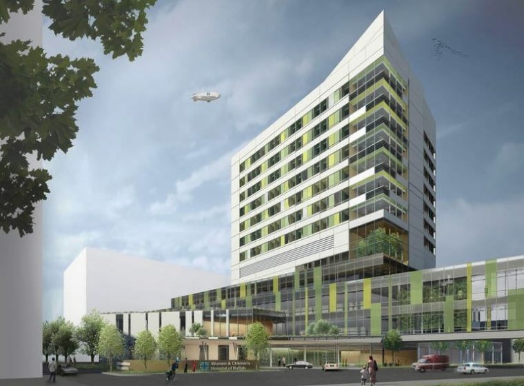 An artist rendering of the new John R. Oishei Children's Hospital is shown above.