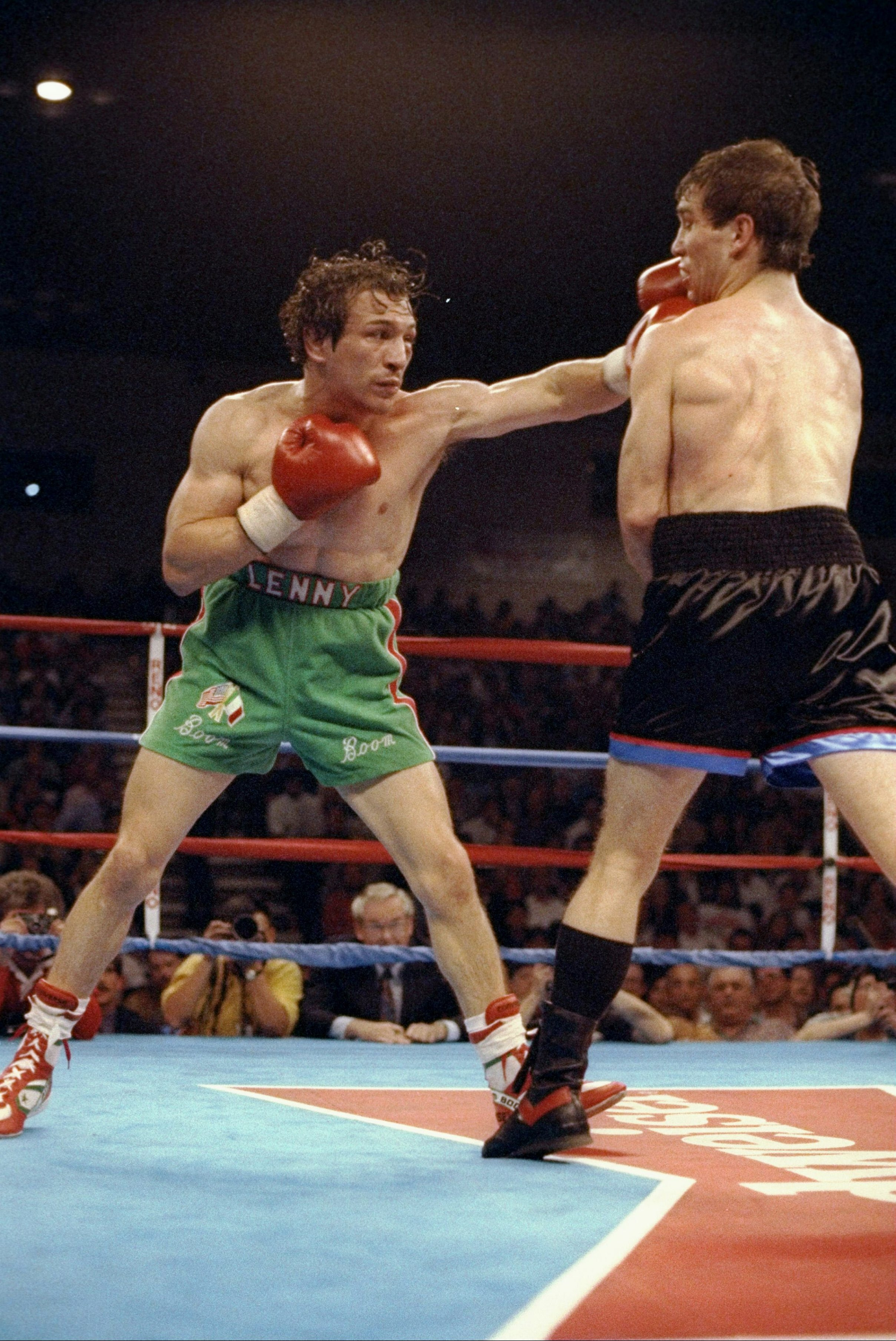 "Getty Images    Ray ""Boom Boom"" Mancini lands a punch in this 1992 fight against Greg Haugen."