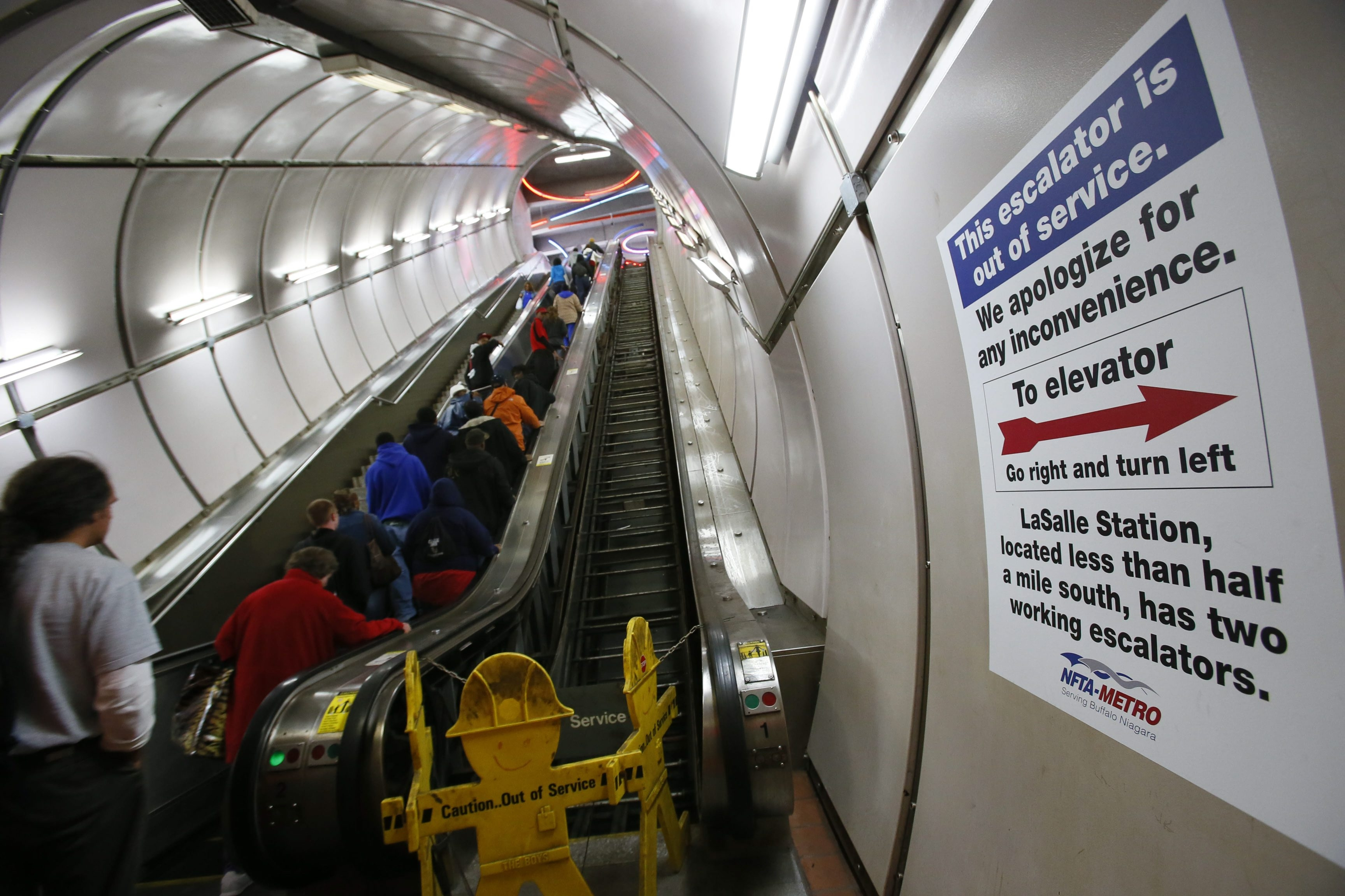 Derek Gee/Buffalo News    One of the escalators at the Metro Rail University Station has been out of service for four months.