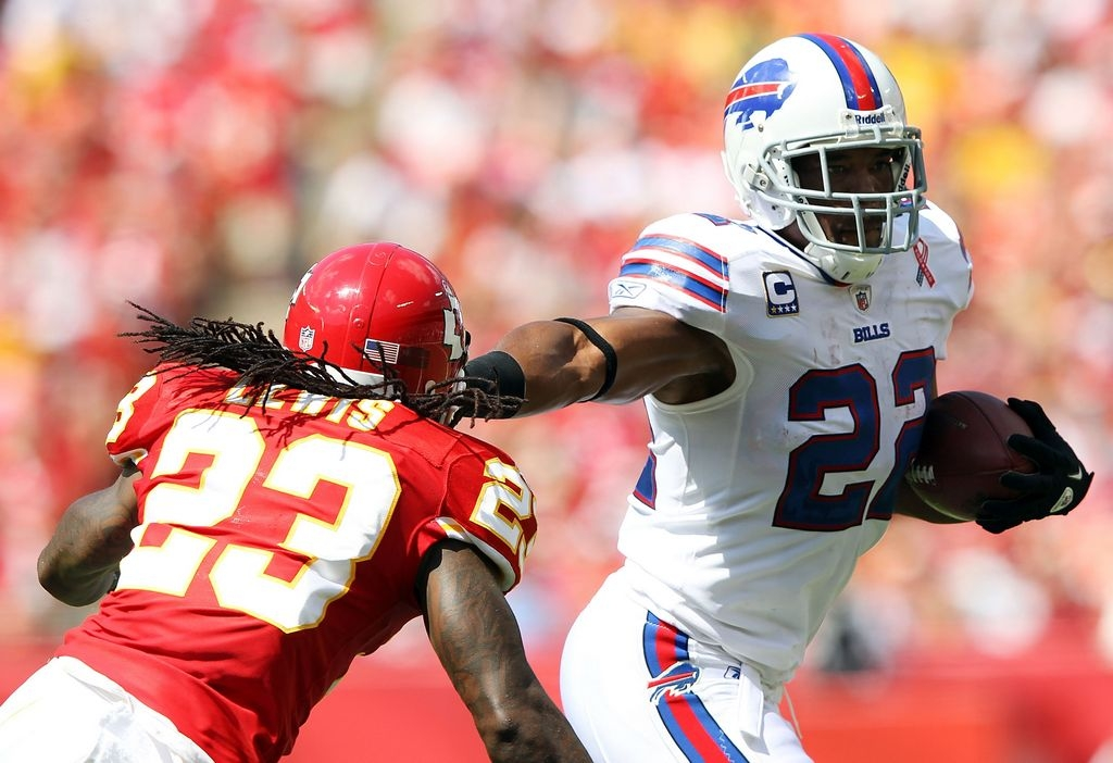 Fred Jackson carries the ball as Kendrick Lewis of the Kansas City Chiefs defends during last season's matchup, the last time the Bills won on the road.