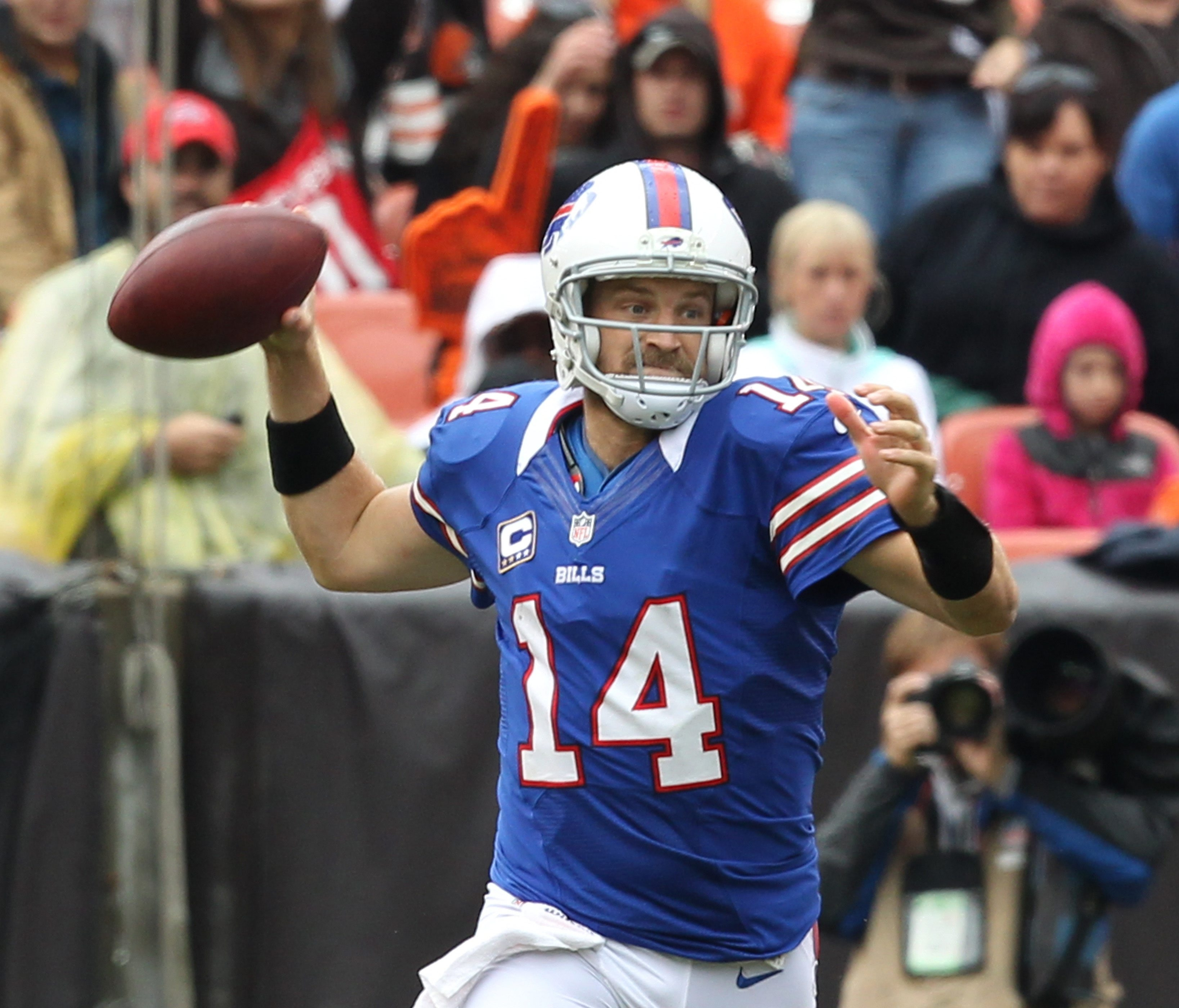 James P. McCoy / Buffalo News    Quarterback Ryan Fitzpatrick accounted for 90 yards on the Bills' first two drives.