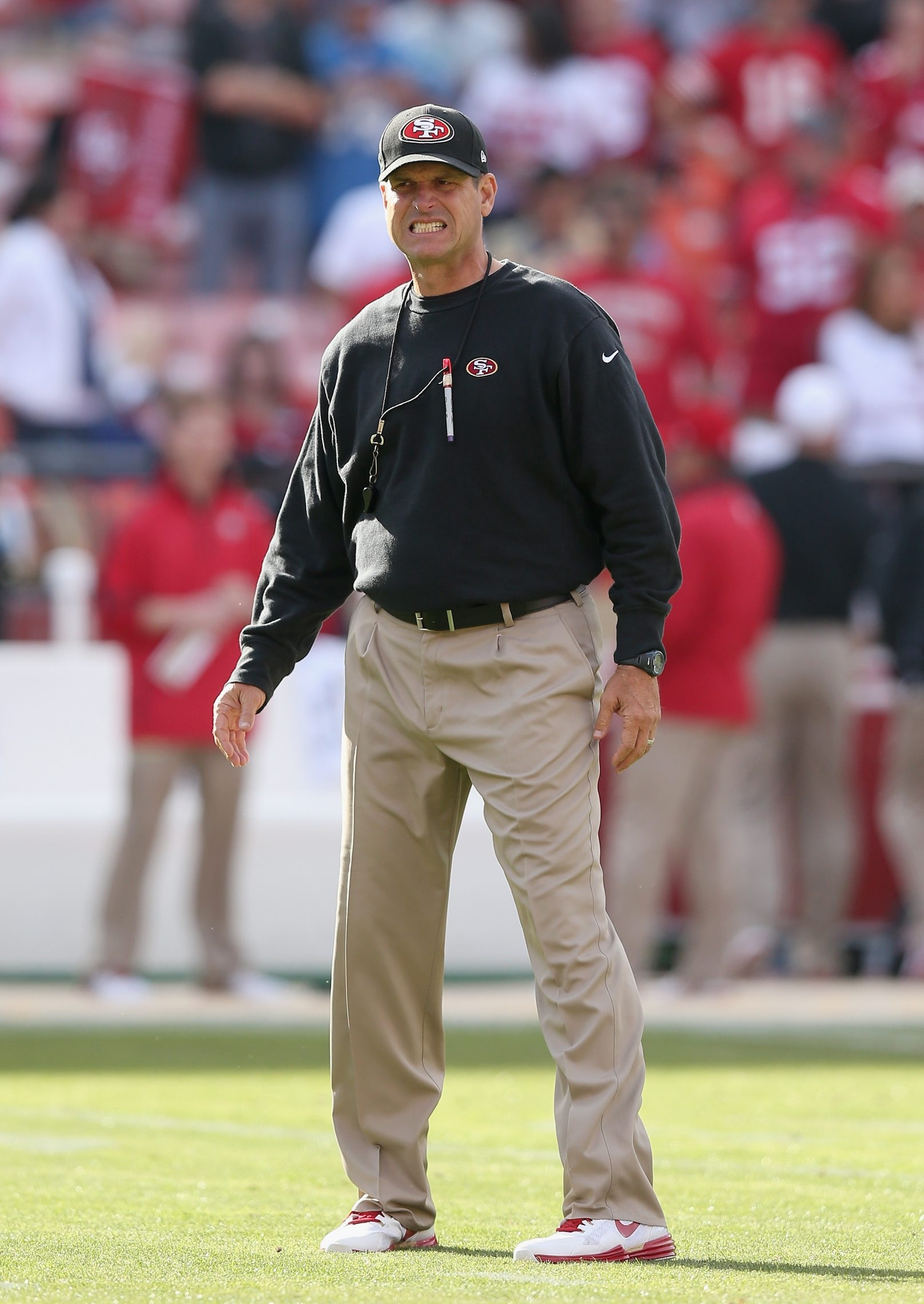 Getty Images  Coach Jim Harbaugh and the 49ers face the Vikings today.