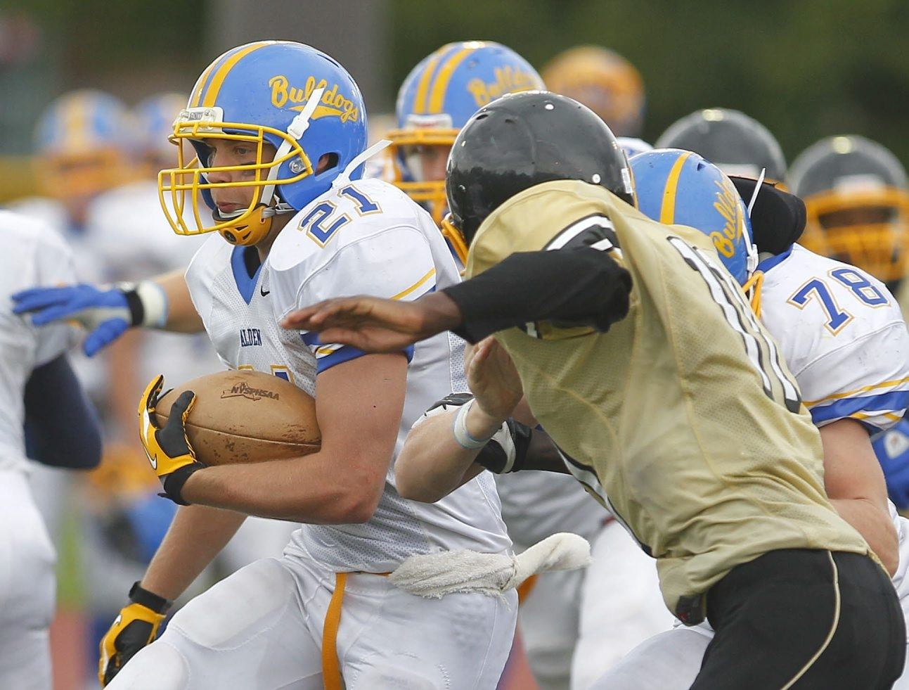 Mark Mulville / Buffalo News    Corey Barczykowski and No. 1 small school Alden routed East, 31-6, Saturday. The Bulldogs host No. 2 Depew Friday.