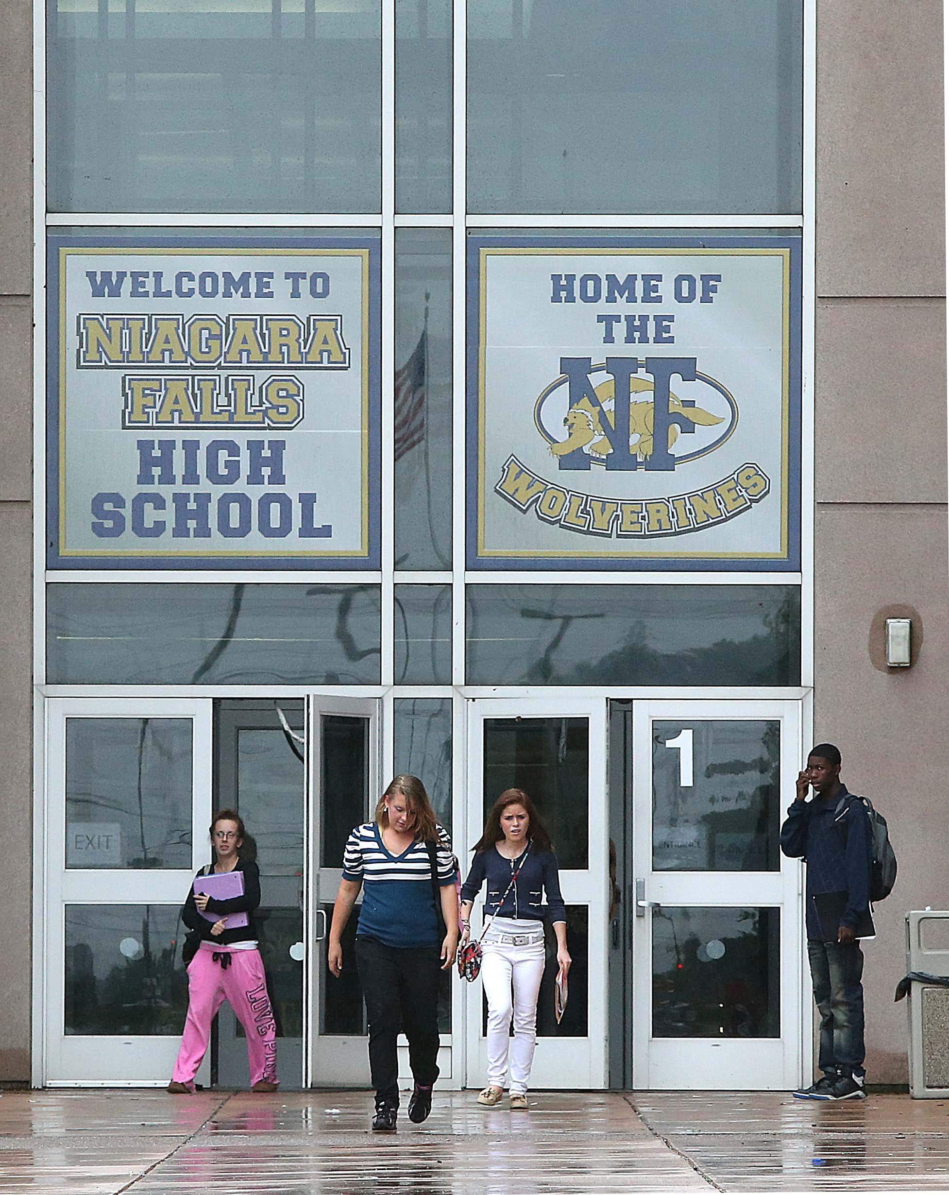 Robert Kirkham/Buffalo News    Planned improvements for Niagara Falls High School include a visitor entry system, wireless networking and emergency exit lighting.