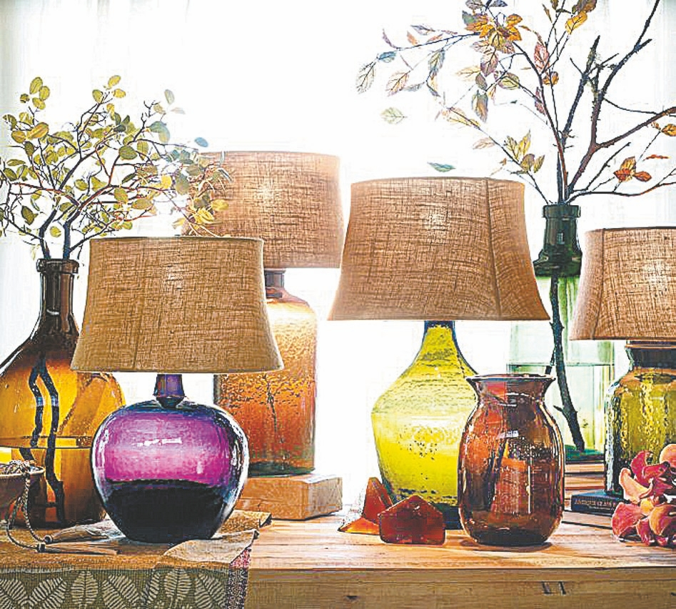 Jewel-tone glass lamps, vases are from Pottery Barn.