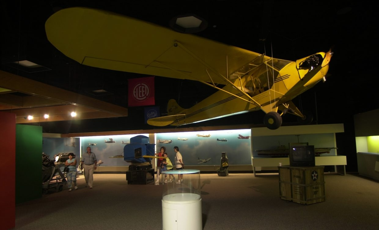 "A 1936 Taylor Model J-2 ""Cub"" airplane hangs inside of the Niagara Aerospace Museum when the museum was in downtown Niagara Falls."