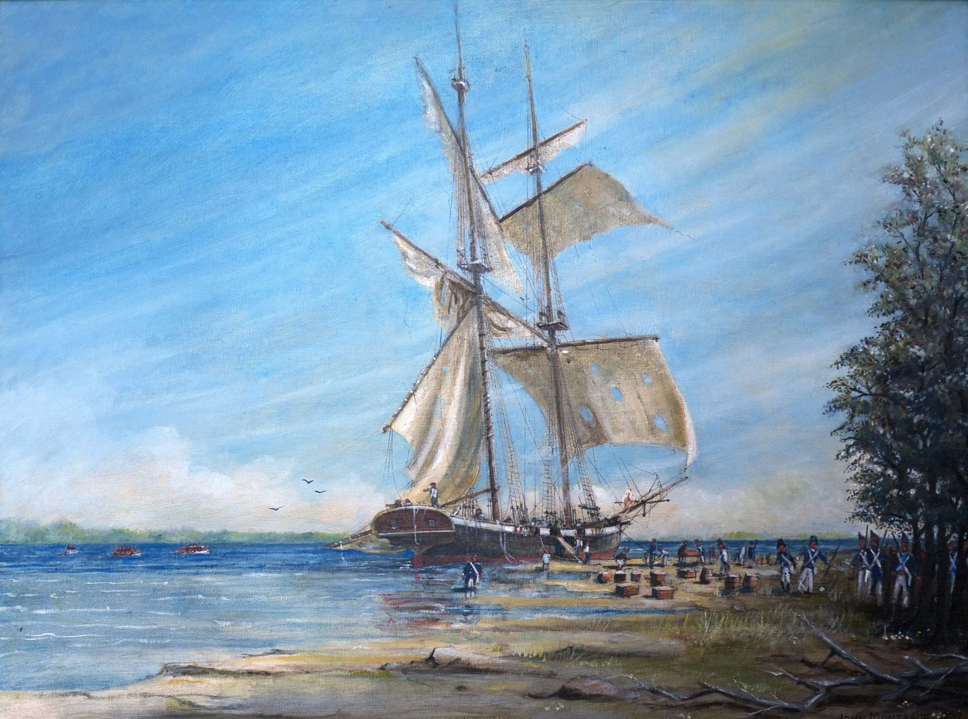 """""""HMS Detroit Aground on Squaw Island,"""" a painting by John Montague, is part of the exhibition """"War of 1812"""" in Artsphere Studio and Gallery."""
