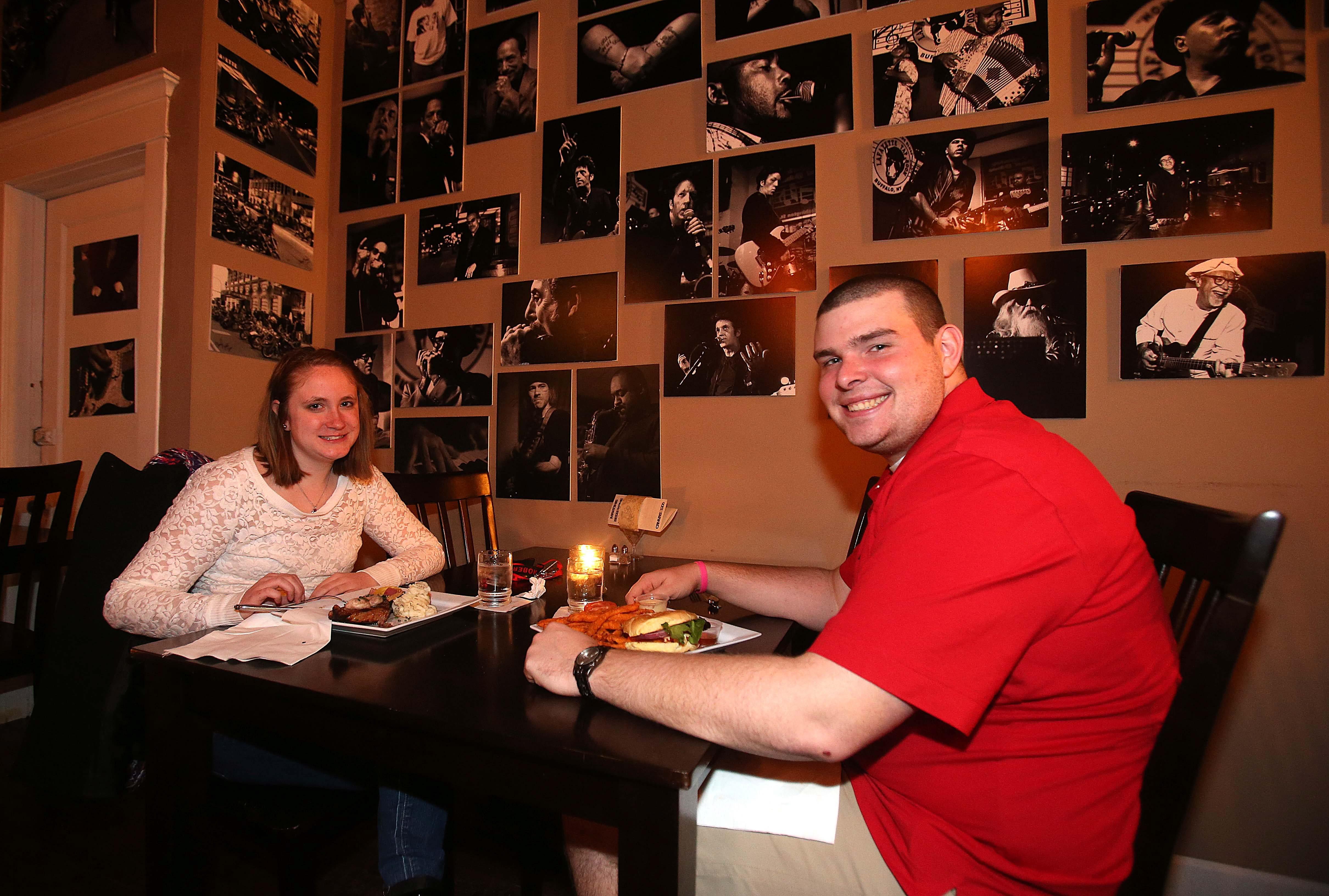 Rebekah Hart and Patrick Leipold enjoy dinner at Canvas@1206 on Hertel Avenue.