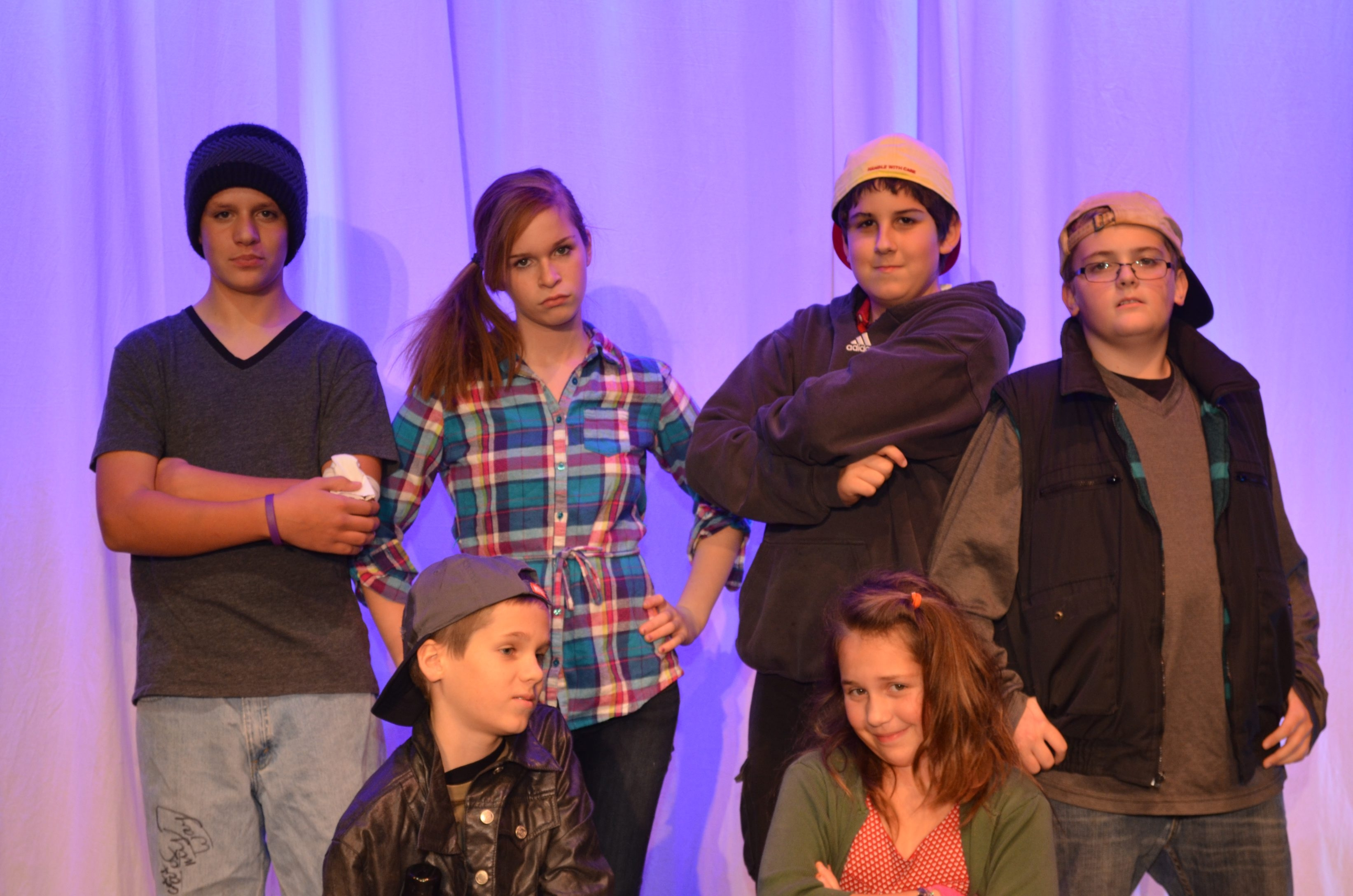PICTURED IN PHOTO:  BACK ROW (L to R):  Alex Bogart, Allison Gray, Jake Shapiro and Michel Guidie.  FRONT ROW (L to R): Aaron Boos and Annabella Bogart. 'The Best Christmas Pageant Ever' at Lancaster Opera House.