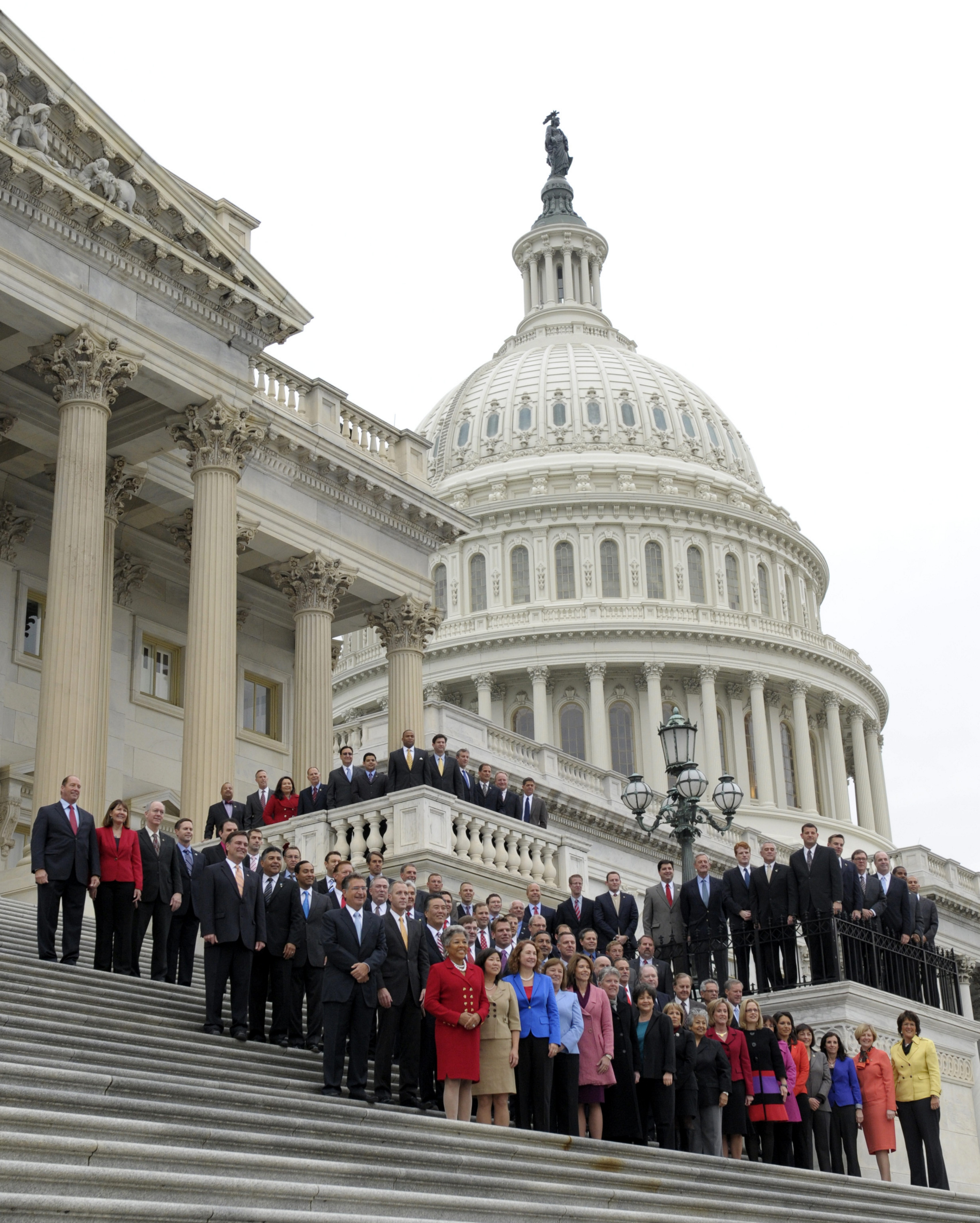 Incoming House freshmen of the 113th Congress pose for a group photo on the East steps of the Capitol in Washington, Thursday, Nov. 15, 2012.