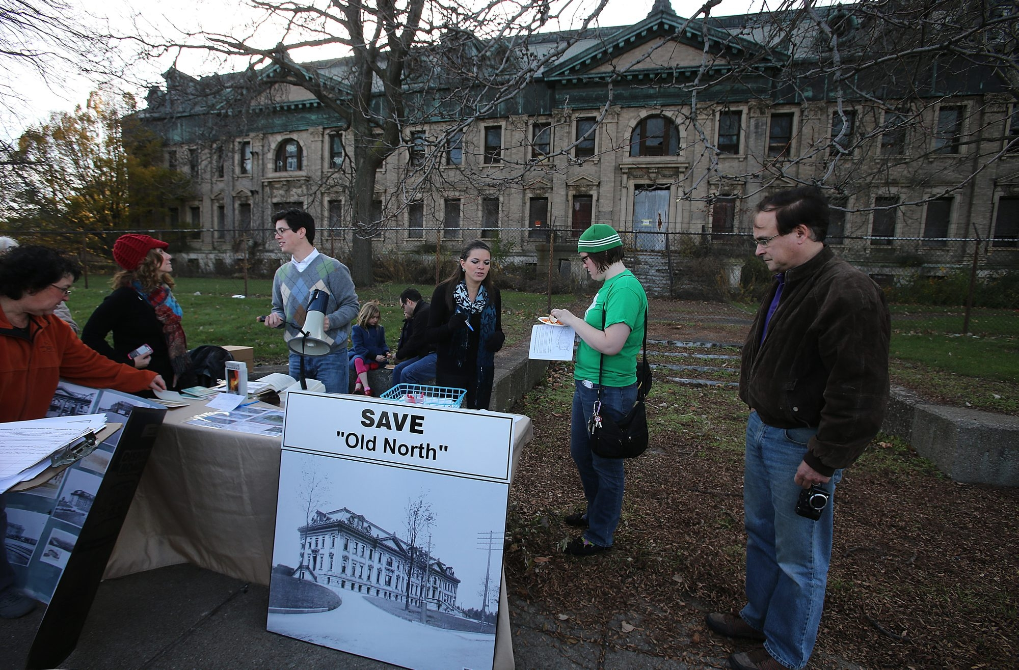 Members of the Lackawanna Industrial Heritage Group gathered outside the former Bethlehem Steel Administration Building Nov. 18, hoping to save it from demolition. (Charles Lewis / Buffalo News file photo)