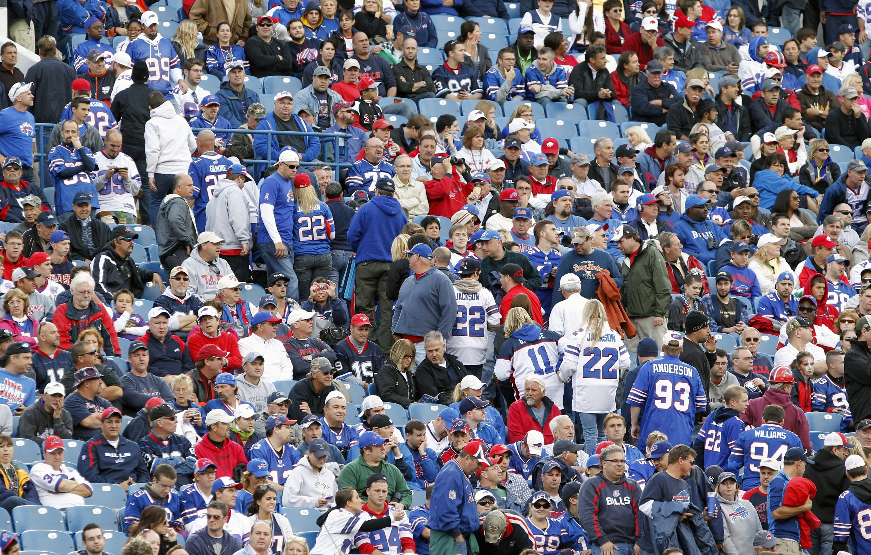 Buffalo Bills fans are seen leaving Ralph Wilson Stadium in this file photo. (Harry Scull Jr. / Buffalo News file photo)