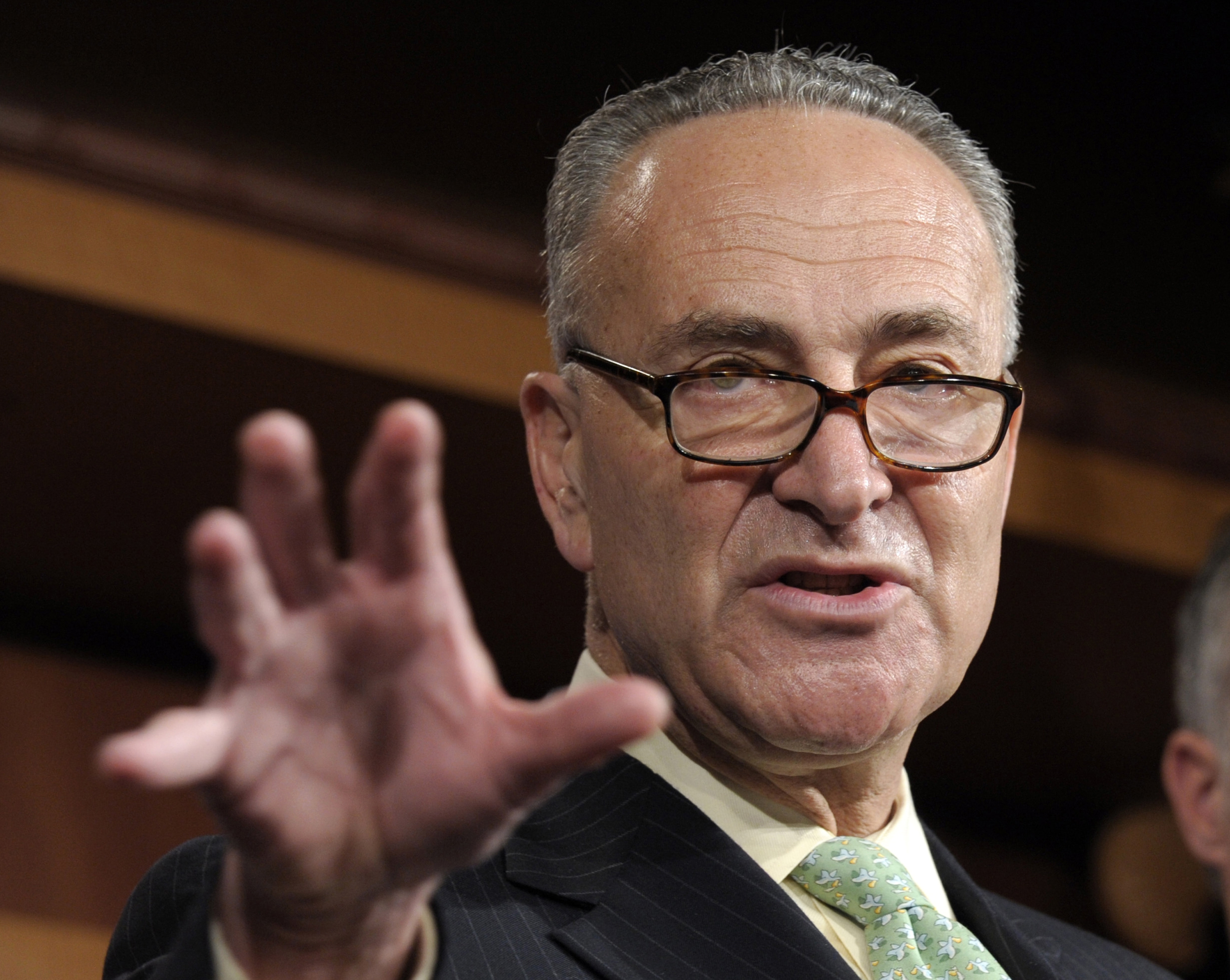 """Sen. Charles E. Schumer says Falls-U.S. program is going to put """"a lot of heat on criminals"""" who threaten safety in the city."""