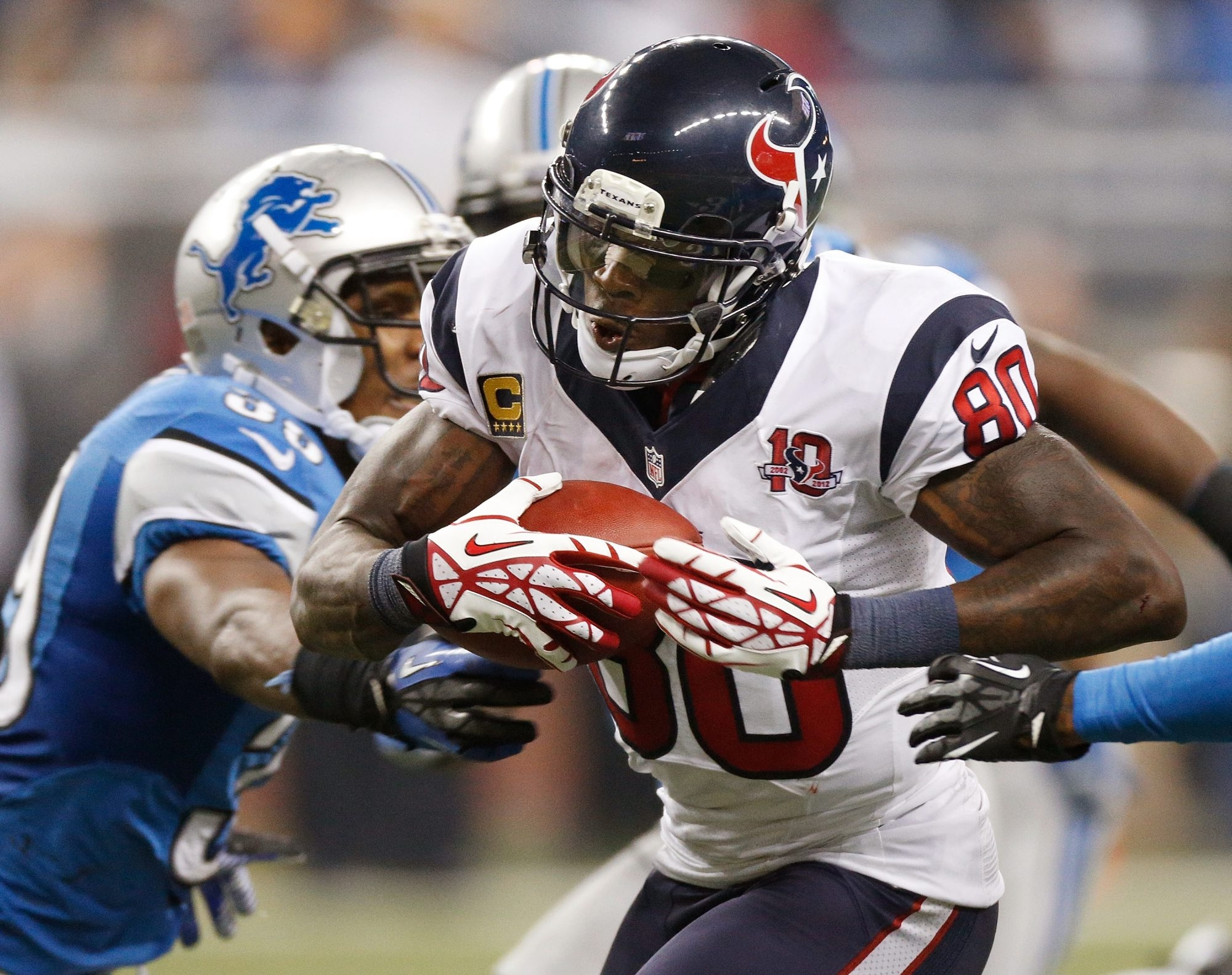 Andre Johnson and the Texans remained atop the rankings after a close call against Detroit.