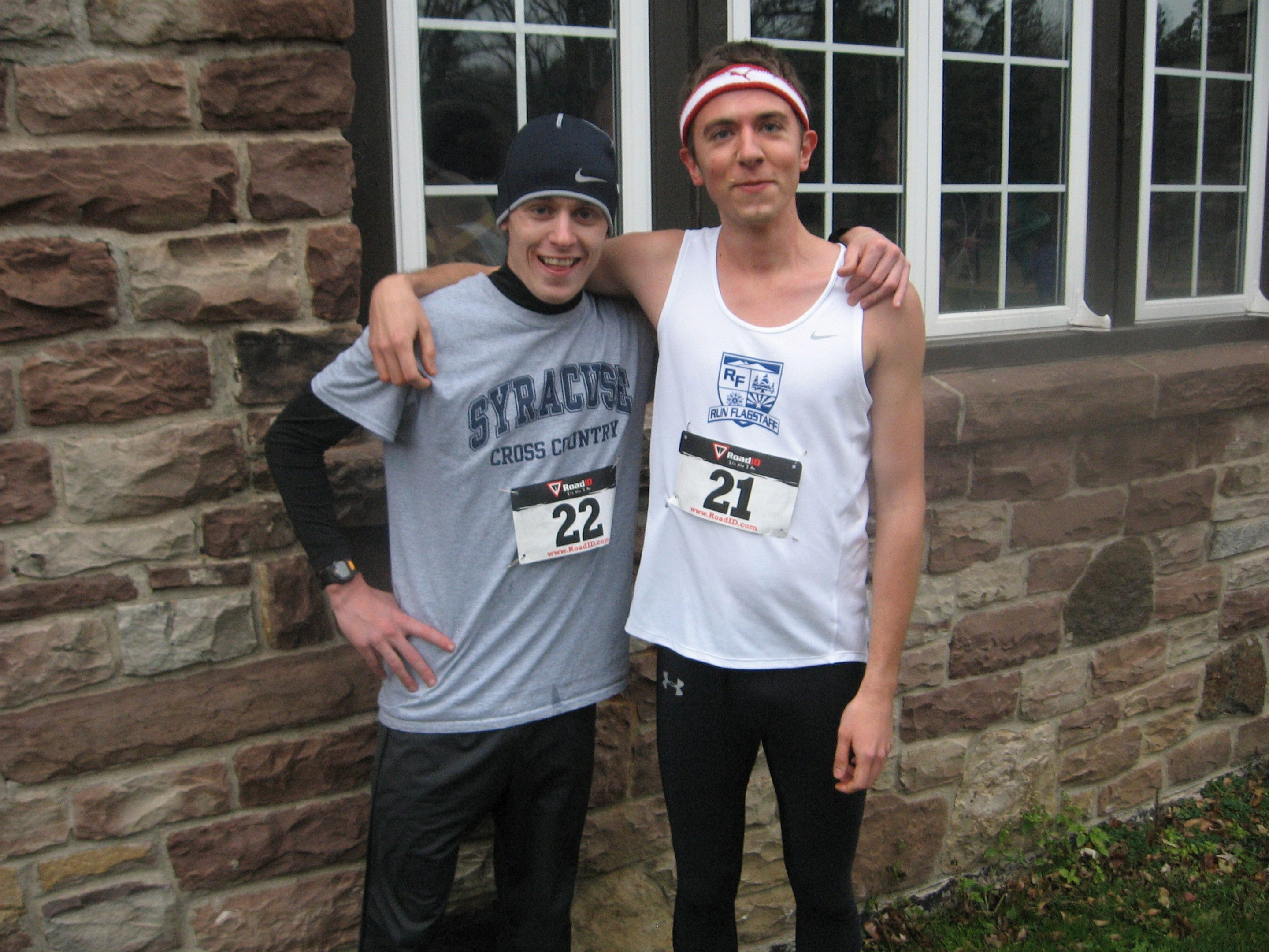 Winner Joe Whelan, left, broke the course record in the Mighty Mile while friend Ryan Poley finished second.