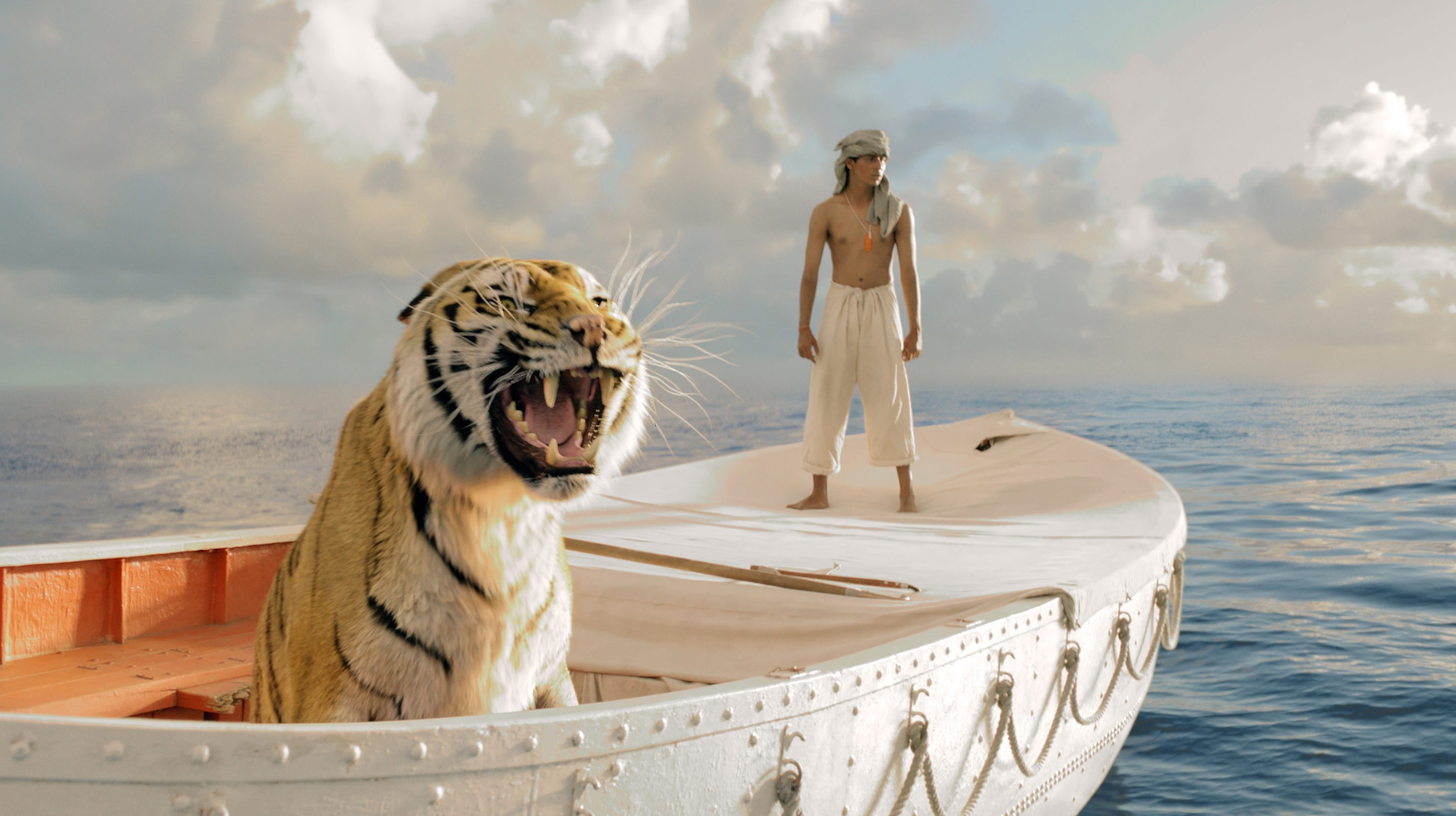 Pi Patel (Suraj Sharma) and a tiger named Richard Parker must rely on each other to survive.