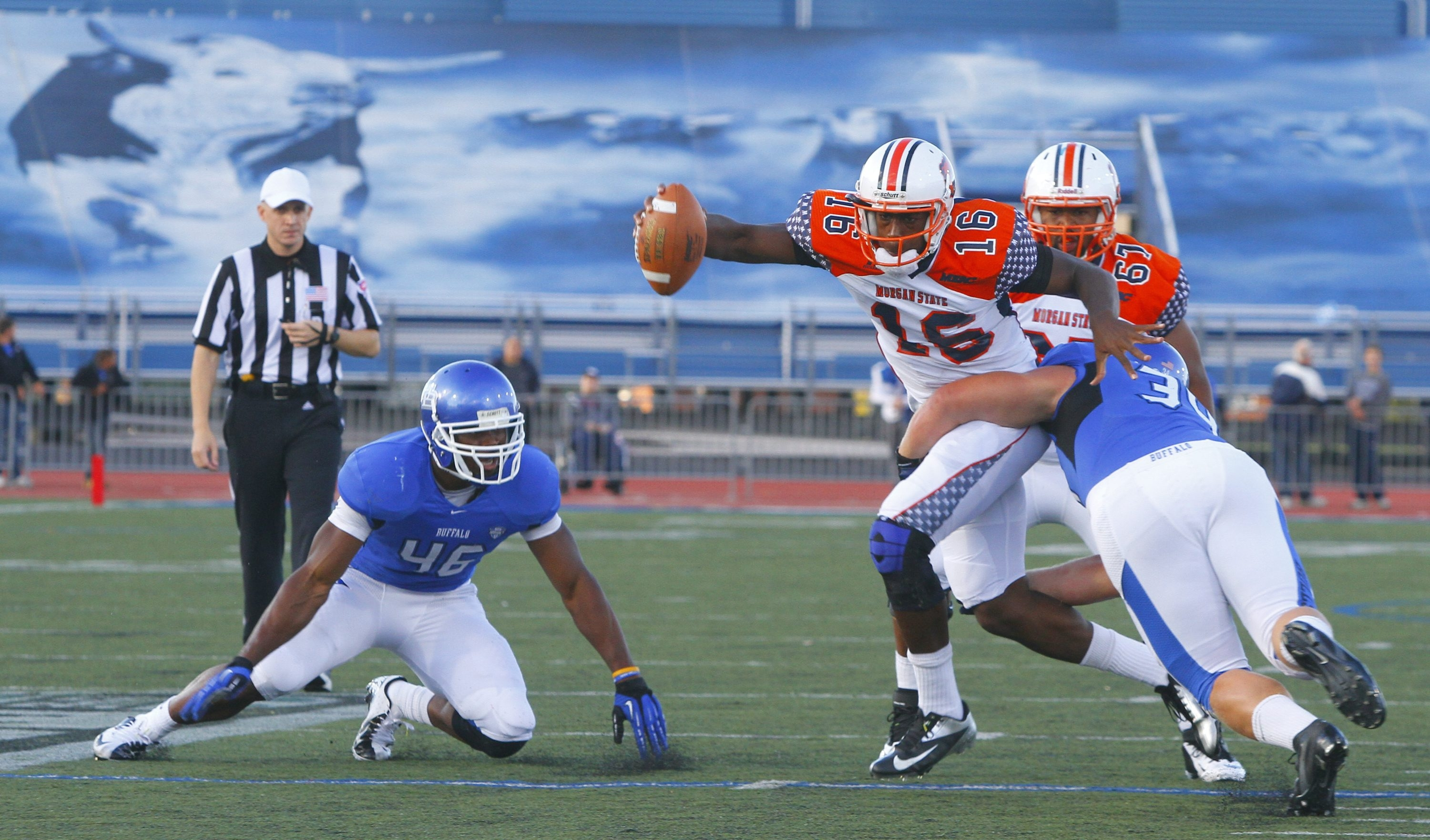 Colby Way of UB (34) will take aim on Bowling Green's offensive players this afternoon.